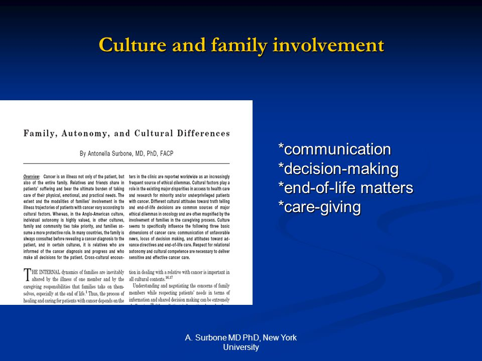 A. Surbone MD PhD, New York University Culture and family involvement *communication*decision-making *end-of-life matters *care-giving