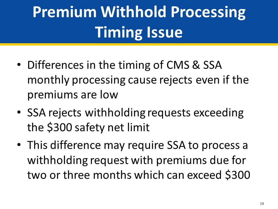 Premium Withhold Processing Timing Issue Differences in the timing of CMS & SSA monthly processing cause rejects even if the premiums are low SSA reje