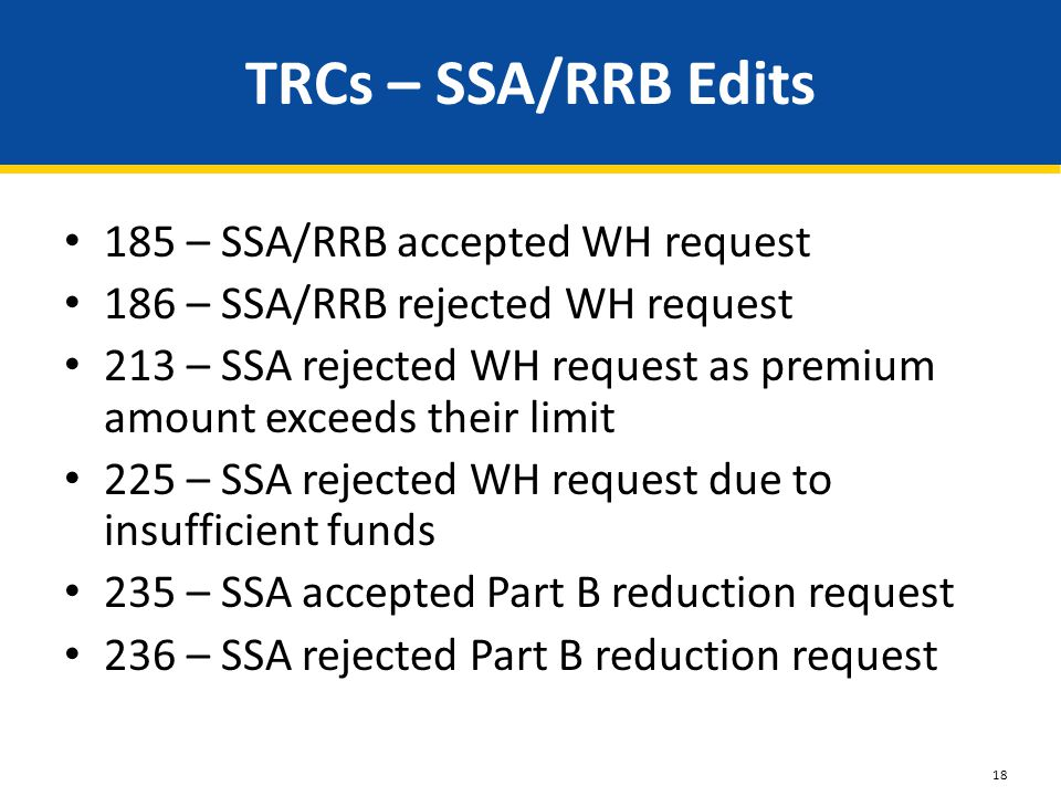 TRCs – SSA/RRB Edits 185 – SSA/RRB accepted WH request 186 – SSA/RRB rejected WH request 213 – SSA rejected WH request as premium amount exceeds their limit 225 – SSA rejected WH request due to insufficient funds 235 – SSA accepted Part B reduction request 236 – SSA rejected Part B reduction request 18