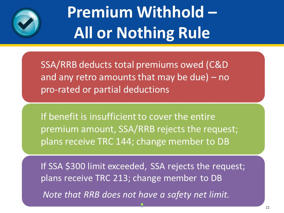 Premium Withhold – All or Nothing Rule SSA/RRB deducts total premiums owed (C&D and any retro amounts that may be due) – no pro-rated or partial deductions If benefit is insufficient to cover the entire premium amount, SSA/RRB rejects the request; plans receive TRC 144; change member to DB If SSA $300 limit exceeded, SSA rejects the request; plans receive TRC 213; change member to DB Note that RRB does not have a safety net limit.