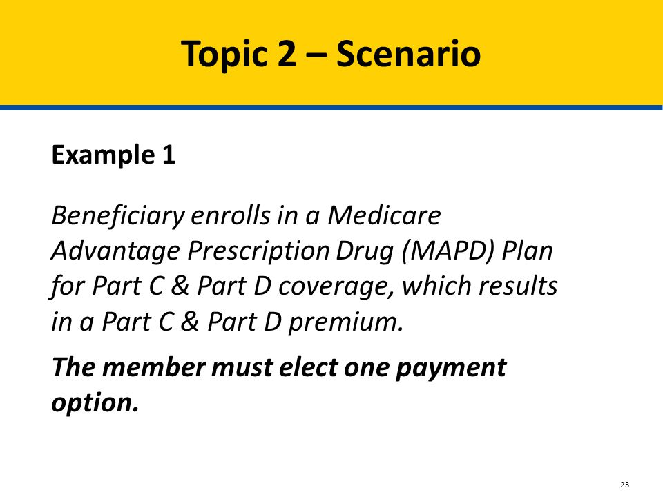 Topic 2 – Scenario Example 1 Beneficiary enrolls in a Medicare Advantage Prescription Drug (MAPD) Plan for Part C & Part D coverage, which results in a Part C & Part D premium.