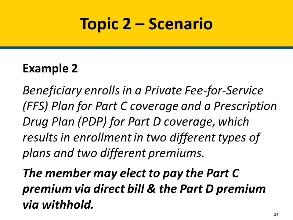 Topic 2 – Scenario Beneficiary enrolls in a Private Fee-for-Service (FFS) Plan for Part C coverage and a Prescription Drug Plan (PDP) for Part D coverage, which results in enrollment in two different types of plans and two different premiums.