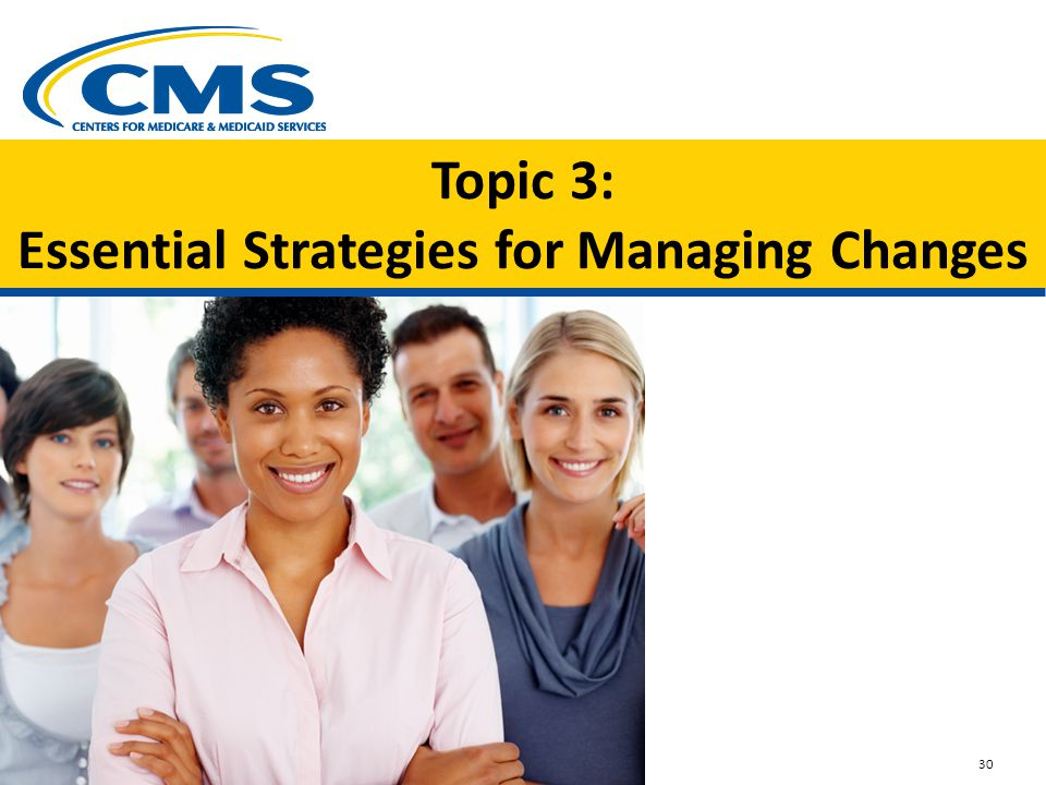 Topic 3: Essential Strategies for Managing Changes Image small group of 30 something s smiling 30