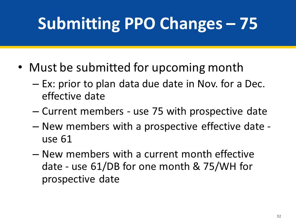 Submitting PPO Changes – 75 Must be submitted for upcoming month – Ex: prior to plan data due date in Nov.