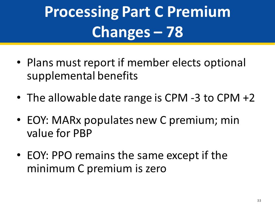 Processing Part C Premium Changes – 78 Plans must report if member elects optional supplemental benefits The allowable date range is CPM -3 to CPM +2 EOY: MARx populates new C premium; min value for PBP EOY: PPO remains the same except if the minimum C premium is zero 33