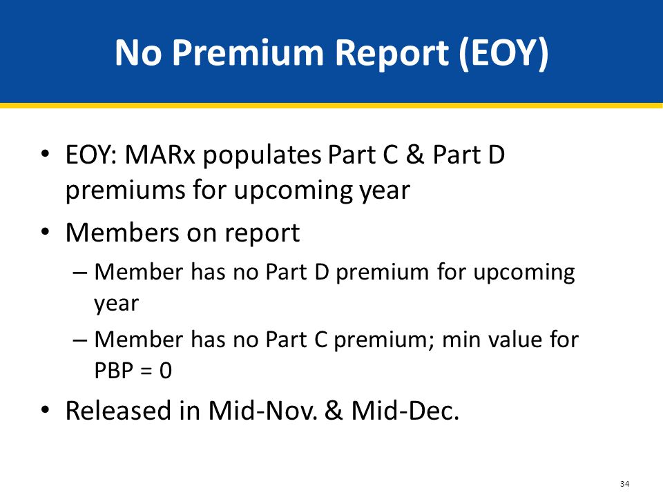 No Premium Report (EOY) EOY: MARx populates Part C & Part D premiums for upcoming year Members on report – Member has no Part D premium for upcoming y