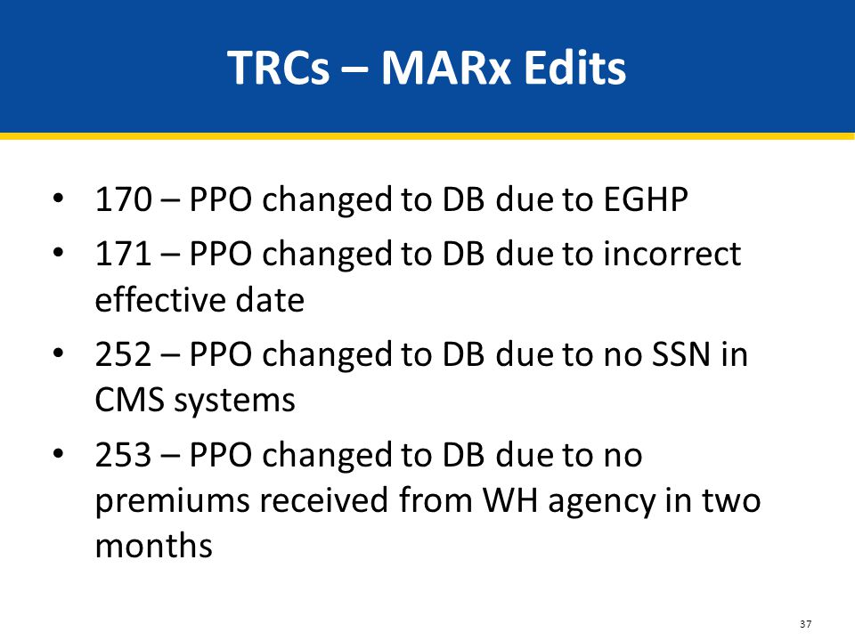 TRCs – MARx Edits 170 – PPO changed to DB due to EGHP 171 – PPO changed to DB due to incorrect effective date 252 – PPO changed to DB due to no SSN in CMS systems 253 – PPO changed to DB due to no premiums received from WH agency in two months 37