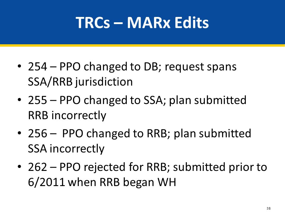 TRCs – MARx Edits 254 – PPO changed to DB; request spans SSA/RRB jurisdiction 255 – PPO changed to SSA; plan submitted RRB incorrectly 256 – PPO chang
