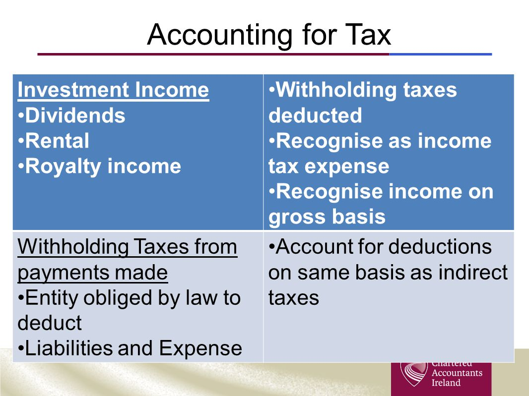 Accounting for Tax Investment Income Dividends Rental Royalty income Withholding taxes deducted Recognise as income tax expense Recognise income on gr