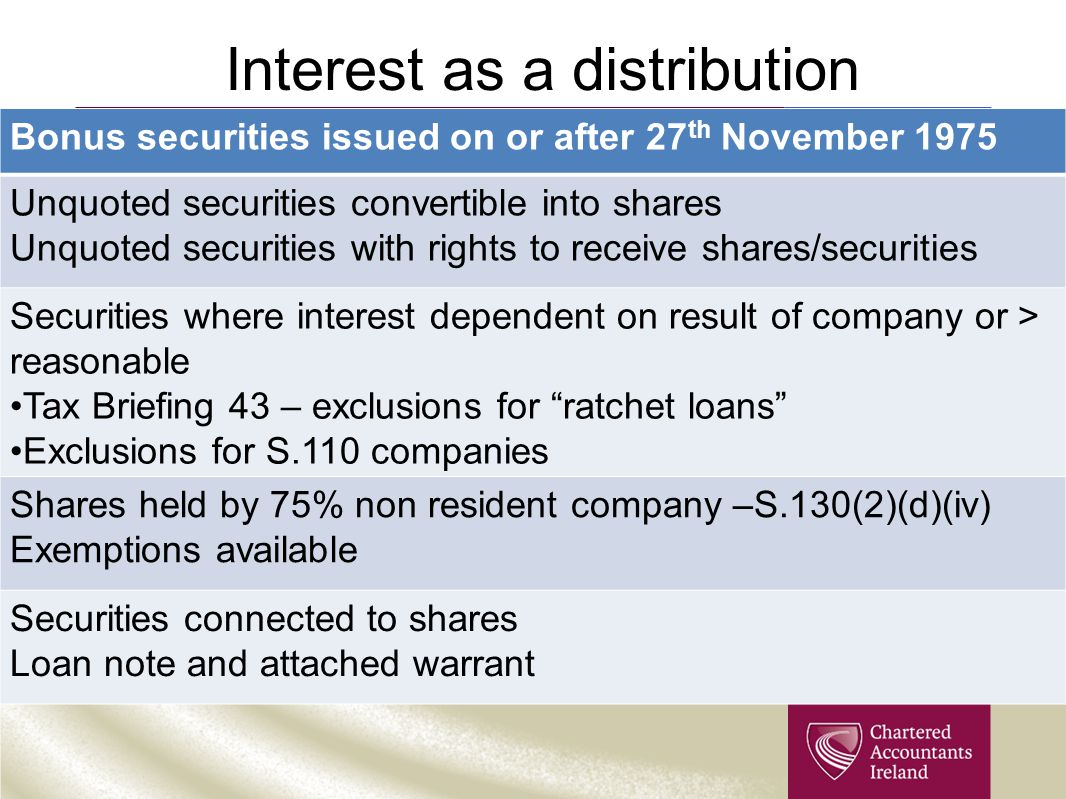 Interest as a distribution Bonus securities issued on or after 27 th November 1975 Unquoted securities convertible into shares Unquoted securities wit