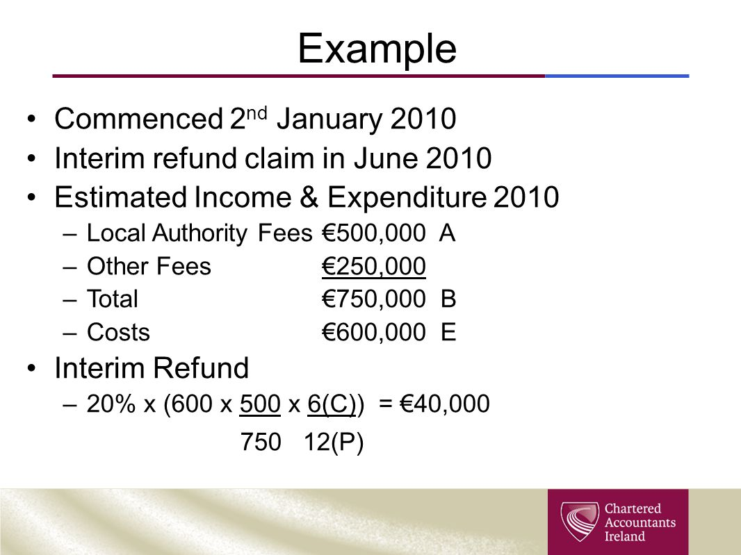 Example Commenced 2 nd January 2010 Interim refund claim in June 2010 Estimated Income & Expenditure 2010 –Local Authority Fees€500,000 A –Other Fees€