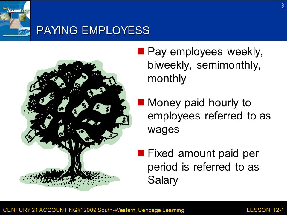 CENTURY 21 ACCOUNTING © 2009 South-Western, Cengage Learning PAYING EMPLOYESS Pay employees weekly, biweekly, semimonthly, monthly Money paid hourly to employees referred to as wages Fixed amount paid per period is referred to as Salary 3 LESSON 12-1