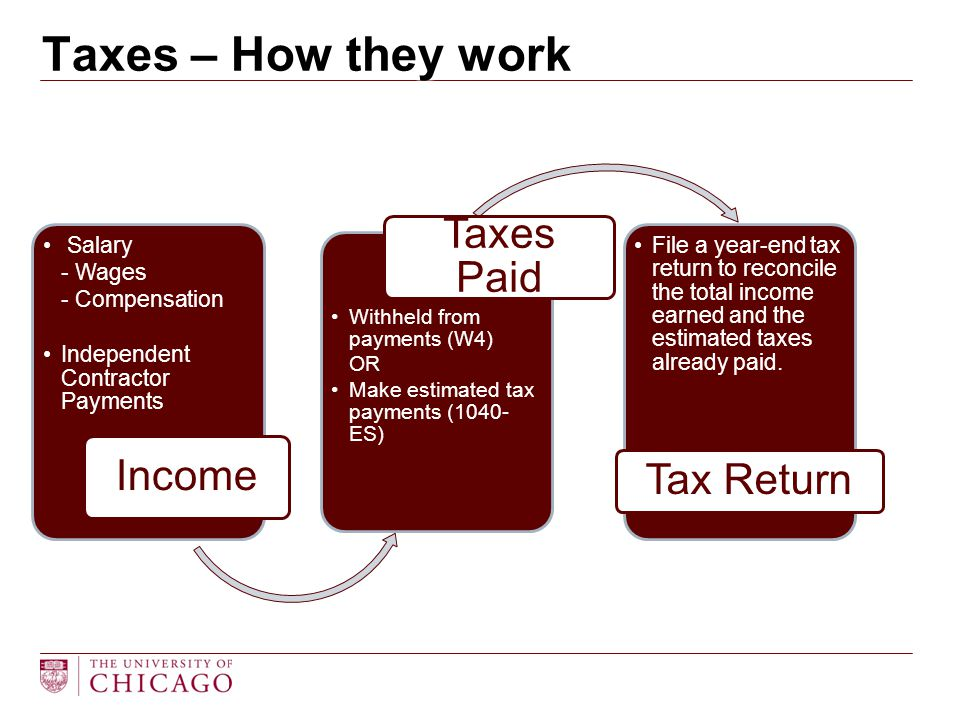 Salary - Wages - Compensation Independent Contractor Payments Income Withheld from payments (W4) OR Make estimated tax payments (1040- ES) Taxes Paid
