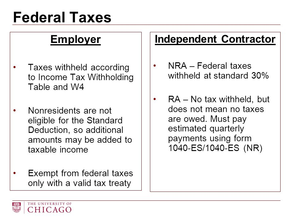 Employer Taxes withheld according to Income Tax Withholding Table and W4 Nonresidents are not eligible for the Standard Deduction, so additional amoun