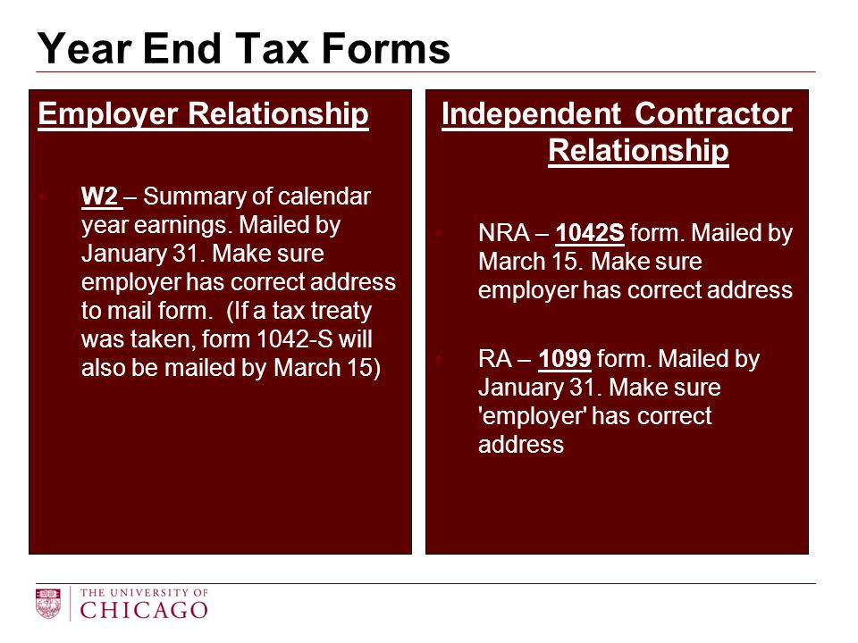 Employer Relationship W2 – Summary of calendar year earnings. Mailed by January 31. Make sure employer has correct address to mail form. (If a tax tre
