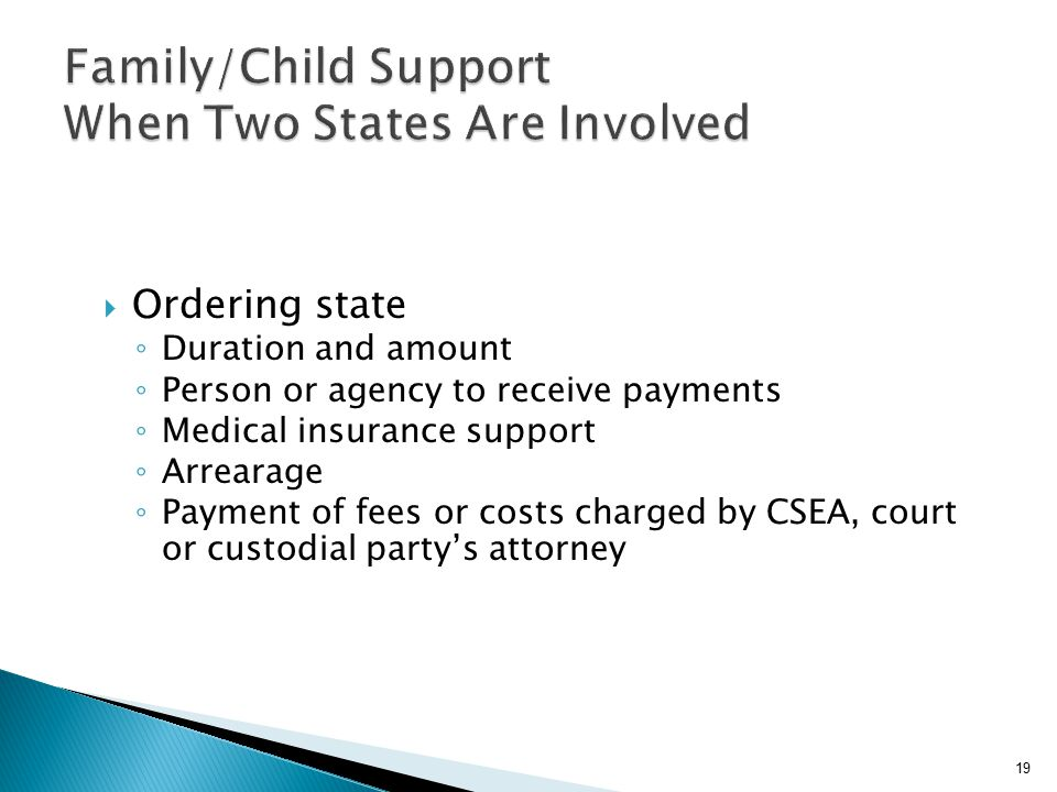  Ordering state ◦ Duration and amount ◦ Person or agency to receive payments ◦ Medical insurance support ◦ Arrearage ◦ Payment of fees or costs charged by CSEA, court or custodial party's attorney 19