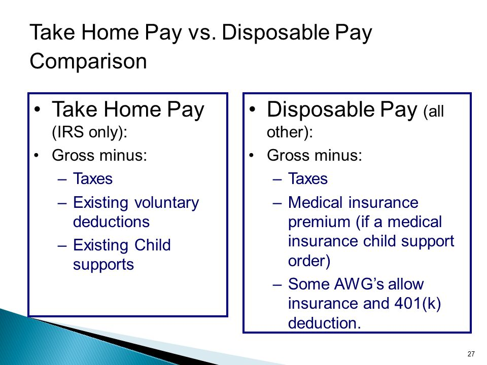 Take Home Pay vs. Disposable Pay Comparison Disposable Pay (all other): Gross minus: –Taxes –Medical insurance premium (if a medical insurance child s