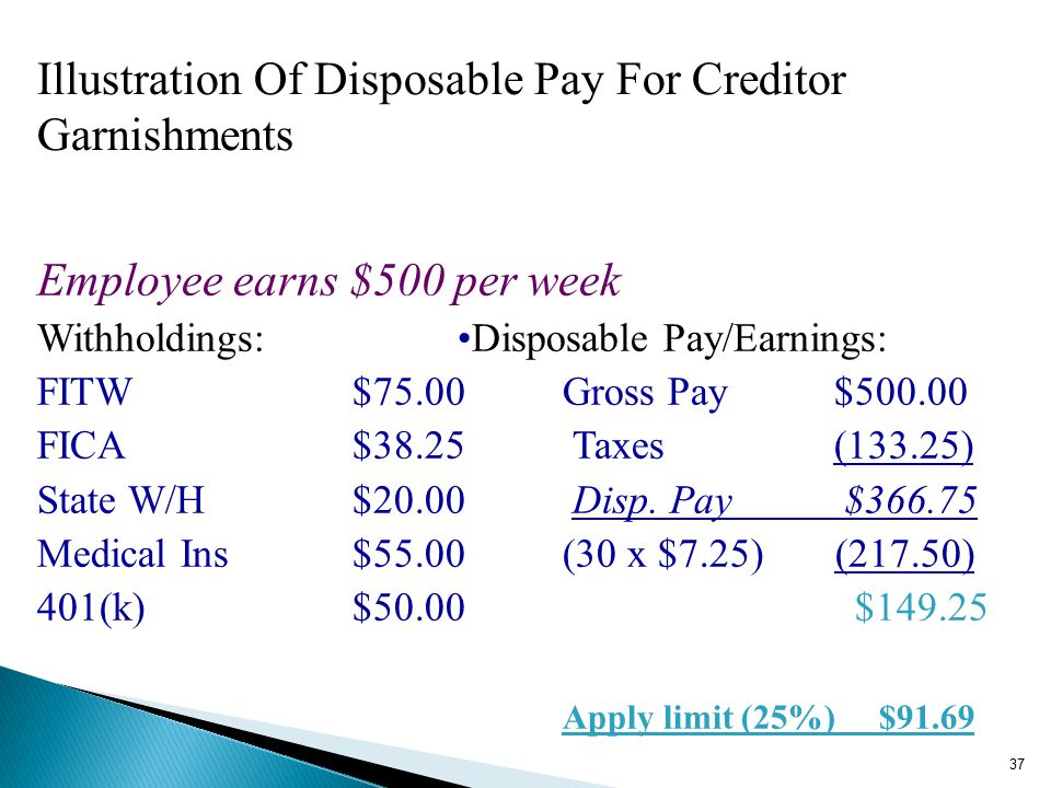 Illustration Of Disposable Pay For Creditor Garnishments Employee earns $500 per week Withholdings:Disposable Pay/Earnings: FITW$75.00 Gross Pay $500.00 FICA$38.25 Taxes (133.25) State W/H$20.00 Disp.