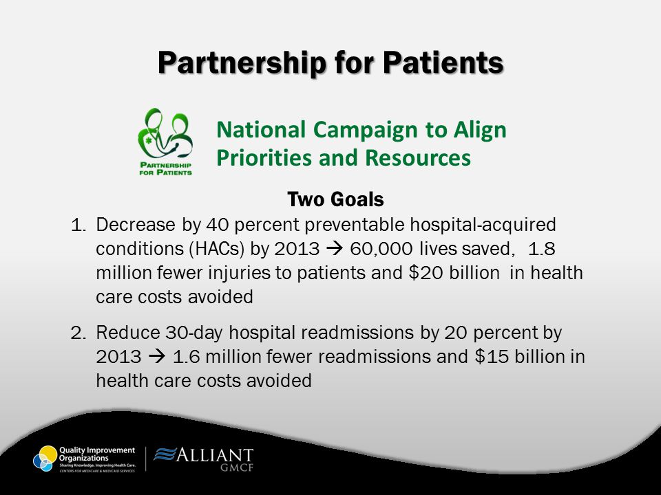 Partnership for Patients Two Goals 1.Decrease by 40 percent preventable hospital-acquired conditions (HACs) by 2013  60,000 lives saved, 1.8 million fewer injuries to patients and $20 billion in health care costs avoided 2.Reduce 30-day hospital readmissions by 20 percent by 2013  1.6 million fewer readmissions and $15 billion in health care costs avoided National Campaign to Align Priorities and Resources