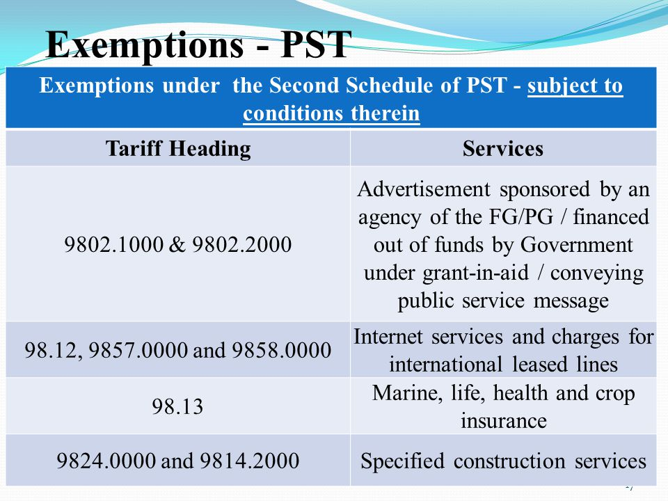 17 Exemptions - PST Exemptions under the Second Schedule of PST - subject to conditions therein Tariff HeadingServices 9802.1000 & 9802.2000 Advertise