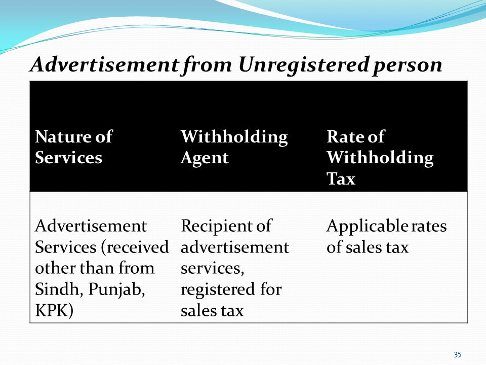Advertisement from Unregistered person Nature of Services Withholding Agent Rate of Withholding Tax Advertisement Services (received other than from S