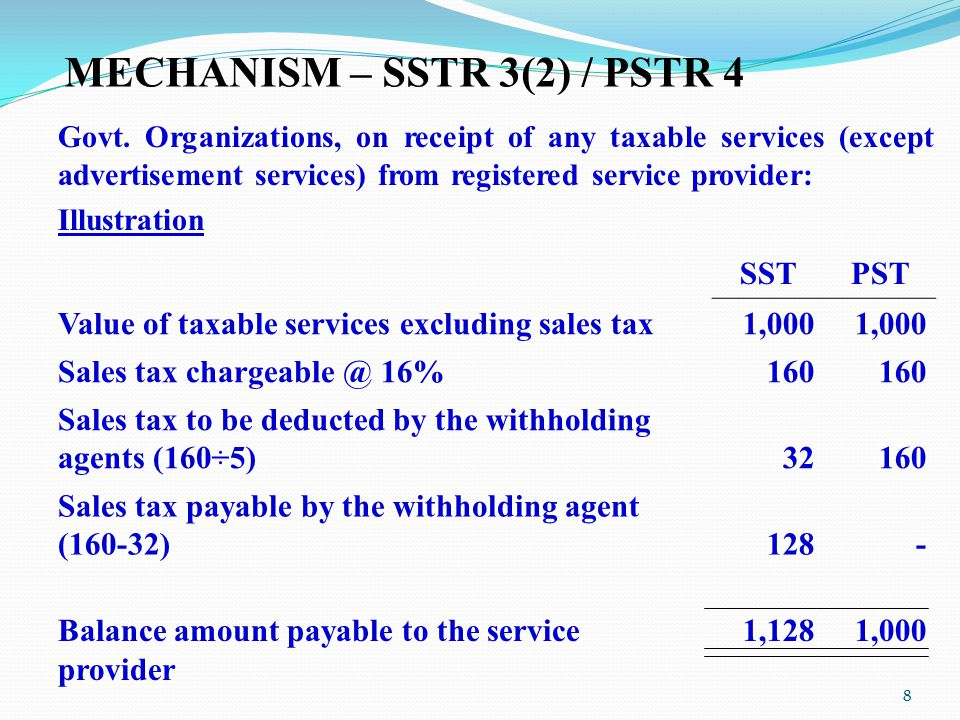 MECHANISM – SSTR 3(2) / PSTR 4 Govt. Organizations, on receipt of any taxable services (except advertisement services) from registered service provide
