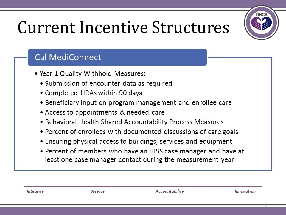 Current Incentive Structures 2 Year 1 Quality Withhold Measures: Submission of encounter data as required Completed HRAs within 90 days Beneficiary input on program management and enrollee care Access to appointments & needed care Behavioral Health Shared Accountability Process Measures Percent of enrollees with documented discussions of care goals Ensuring physical access to buildings, services and equipment Percent of members who have an IHSS case manager and have at least one case manager contact during the measurement year Cal MediConnect Integrity Service Accountability Innovation 11