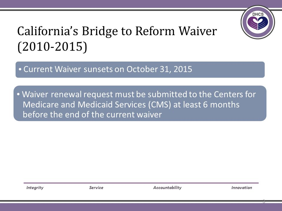 CA BTR Waiver  Current Waiver sunsets on October 31, 2015  Waiver renewal request must be submitted to the Centers for Medicare and Medicaid Services (CMS) at least 6 months before the end of the current waiver Integrity Service Accountability Innovation California's Bridge to Reform Waiver (2010-2015) 3