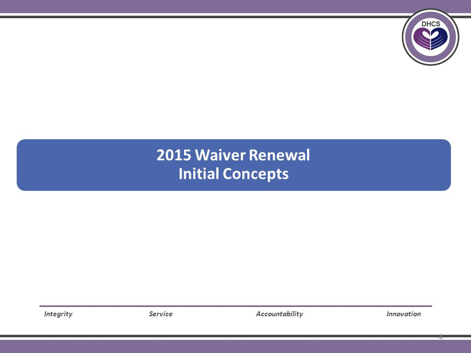 2015 Waiver Renewal Initial Concepts Integrity Service Accountability Innovation 4
