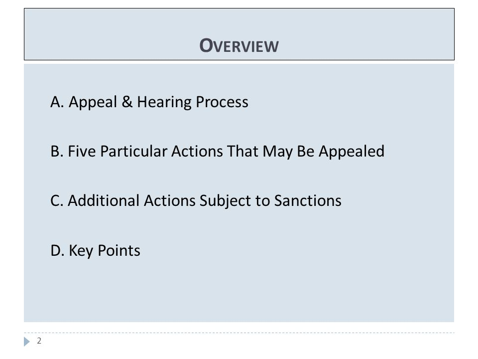 O VERVIEW 2 A. Appeal & Hearing Process B. Five Particular Actions That May Be Appealed C. Additional Actions Subject to Sanctions D. Key Points