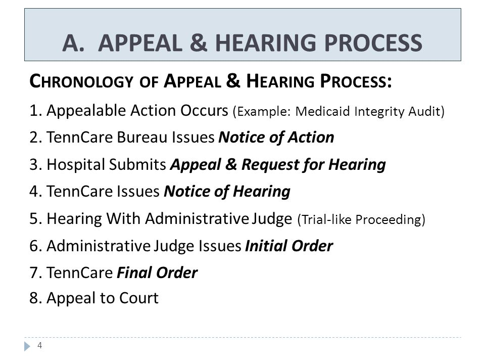 15  Opportunity to Present Evidence to the Bureau Prior to Hearing – Notice of Action should include:  Identity of Person at Bureau Who Hospital May Contact  Describe How Hospital May Submit Additional Information  Submit Appeal & Request for Hearing within 35 days of Notice of Action B.