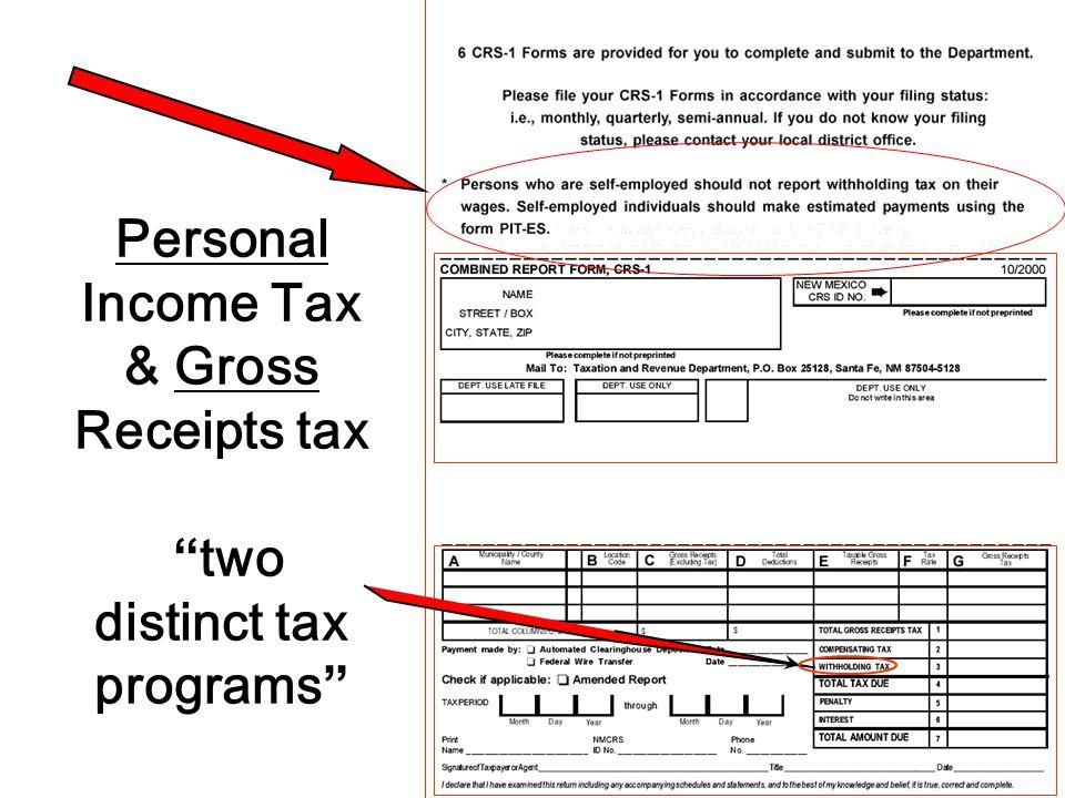 Personal Income Tax & Gross Receipts tax two distinct tax programs