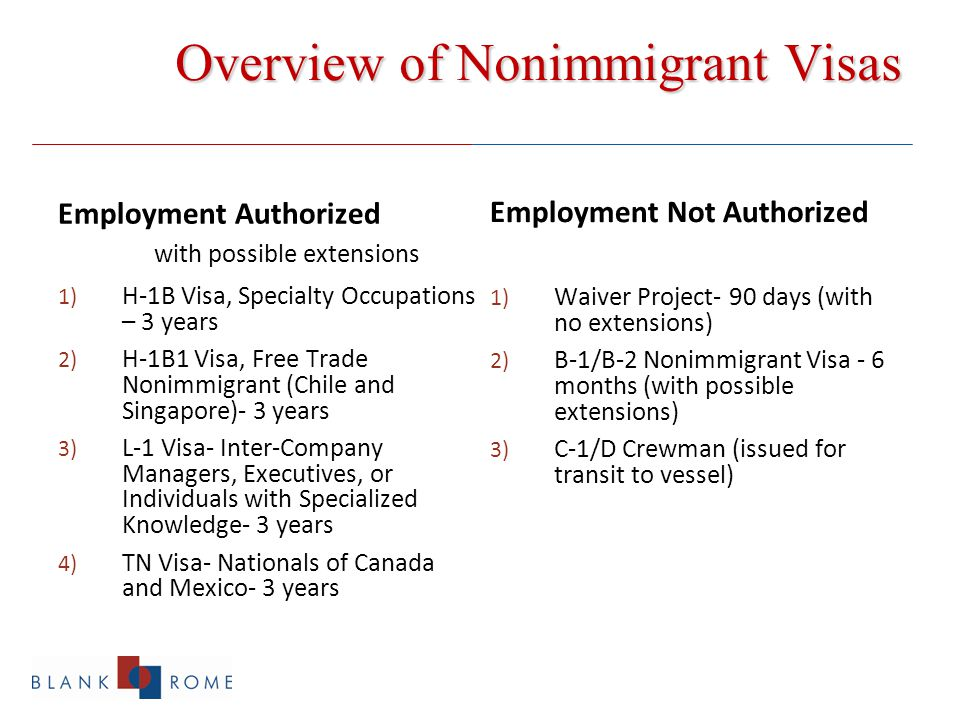 Overview of Nonimmigrant Visas Employment Authorized with possible extensions 1) H-1B Visa, Specialty Occupations – 3 years 2) H-1B1 Visa, Free Trade Nonimmigrant (Chile and Singapore)- 3 years 3) L-1 Visa- Inter-Company Managers, Executives, or Individuals with Specialized Knowledge- 3 years 4) TN Visa- Nationals of Canada and Mexico- 3 years Employment Not Authorized 1) Waiver Project- 90 days (with no extensions) 2) B-1/B-2 Nonimmigrant Visa - 6 months (with possible extensions) 3) C-1/D Crewman (issued for transit to vessel)