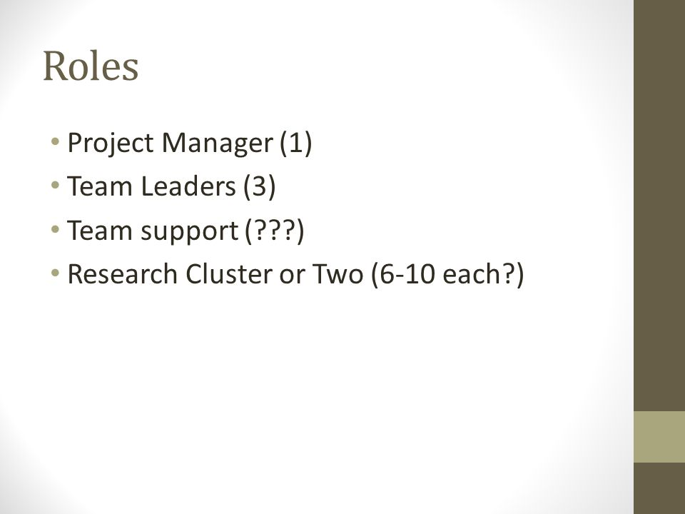 Roles Project Manager (1) Team Leaders (3) Team support (???) Research Cluster or Two (6-10 each?)