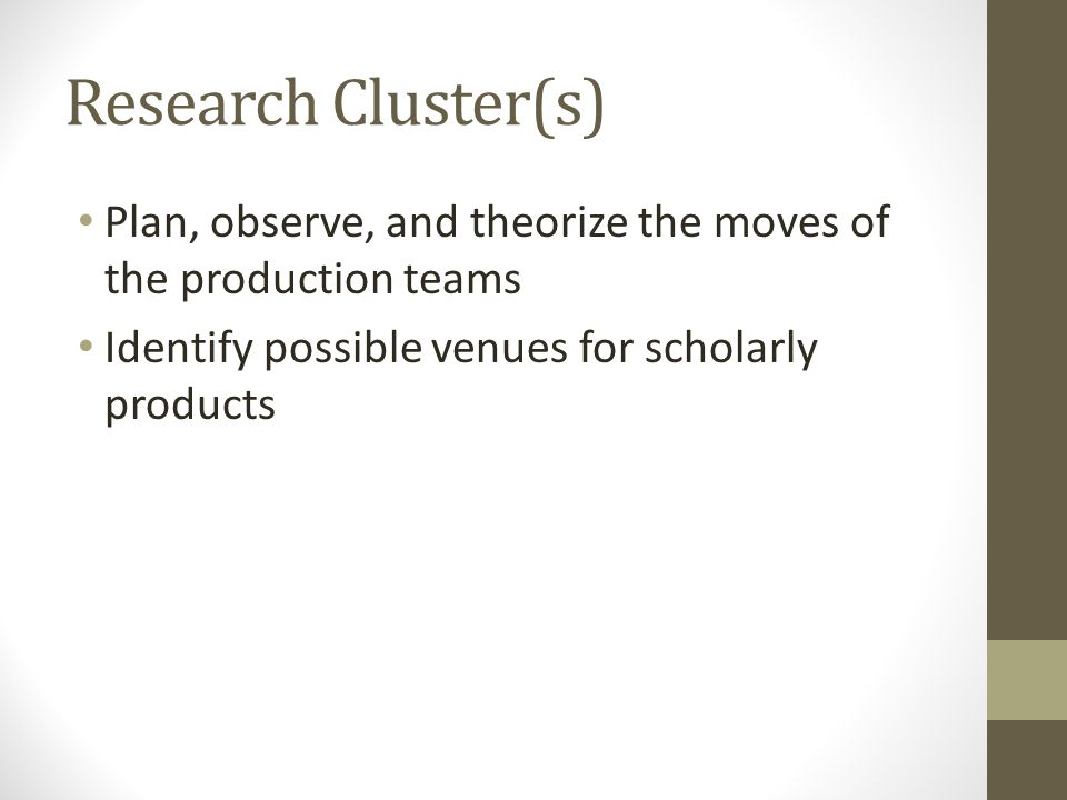 Research Cluster(s) Plan, observe, and theorize the moves of the production teams Identify possible venues for scholarly products