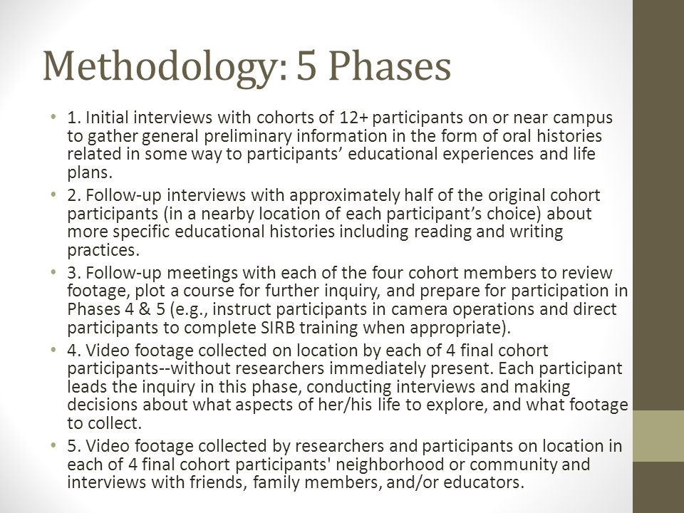 Methodology: 5 Phases 1. Initial interviews with cohorts of 12+ participants on or near campus to gather general preliminary information in the form o