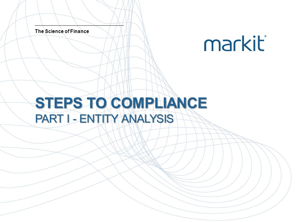 STEPS TO COMPLIANCE PART I - ENTITY ANALYSIS The Science of Finance