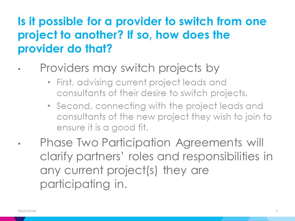 Is it possible for a provider to switch from one project to another.