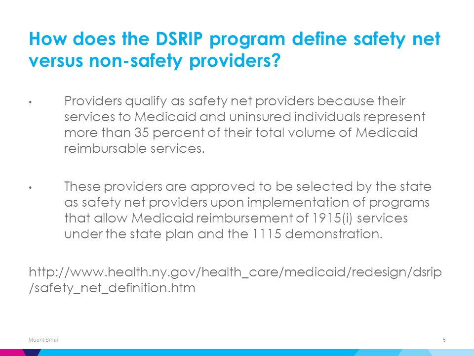 How does the DSRIP program define safety net versus non-safety providers.