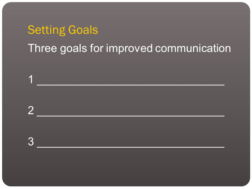 Setting Goals Three goals for improved communication 1 ______________________________ 2 ______________________________ 3 ______________________________