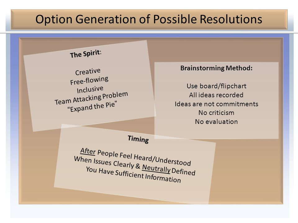 """Option Generation of Possible Resolutions The Spirit: Creative Free-flowing Inclusive Team Attacking Problem """"Expand the Pie"""" Brainstorming Method: Us"""