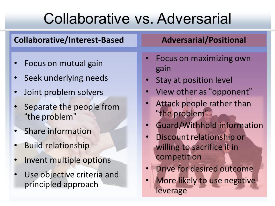 Collaborative vs. Adversarial Collaborative/Interest-BasedAdversarial/Positional Focus on mutual gain Seek underlying needs Joint problem solvers Sepa