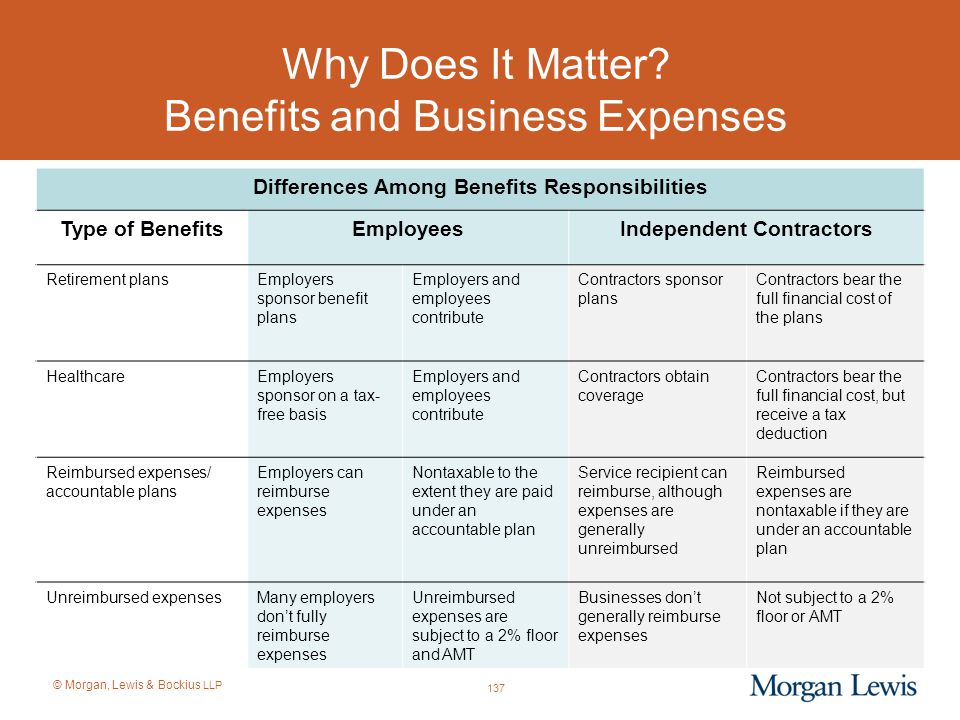 © Morgan, Lewis & Bockius LLP Why Does It Matter? Benefits and Business Expenses Differences Among Benefits Responsibilities Type of BenefitsEmployees