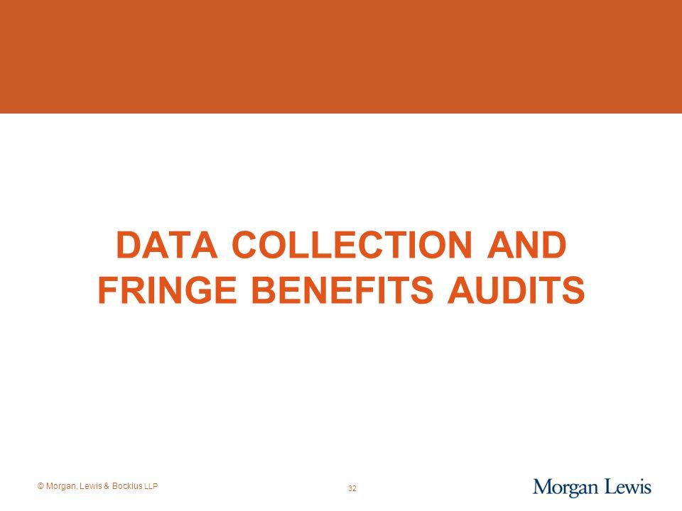 © Morgan, Lewis & Bockius LLP DATA COLLECTION AND FRINGE BENEFITS AUDITS 32