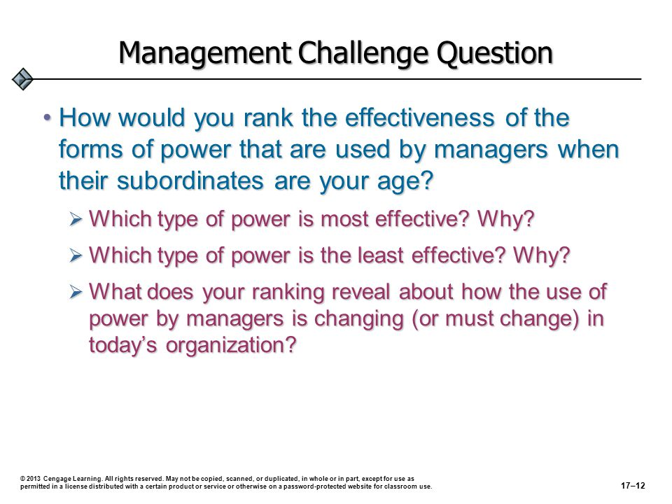 Management Challenge Question How would you rank the effectiveness of the forms of power that are used by managers when their subordinates are your age How would you rank the effectiveness of the forms of power that are used by managers when their subordinates are your age.
