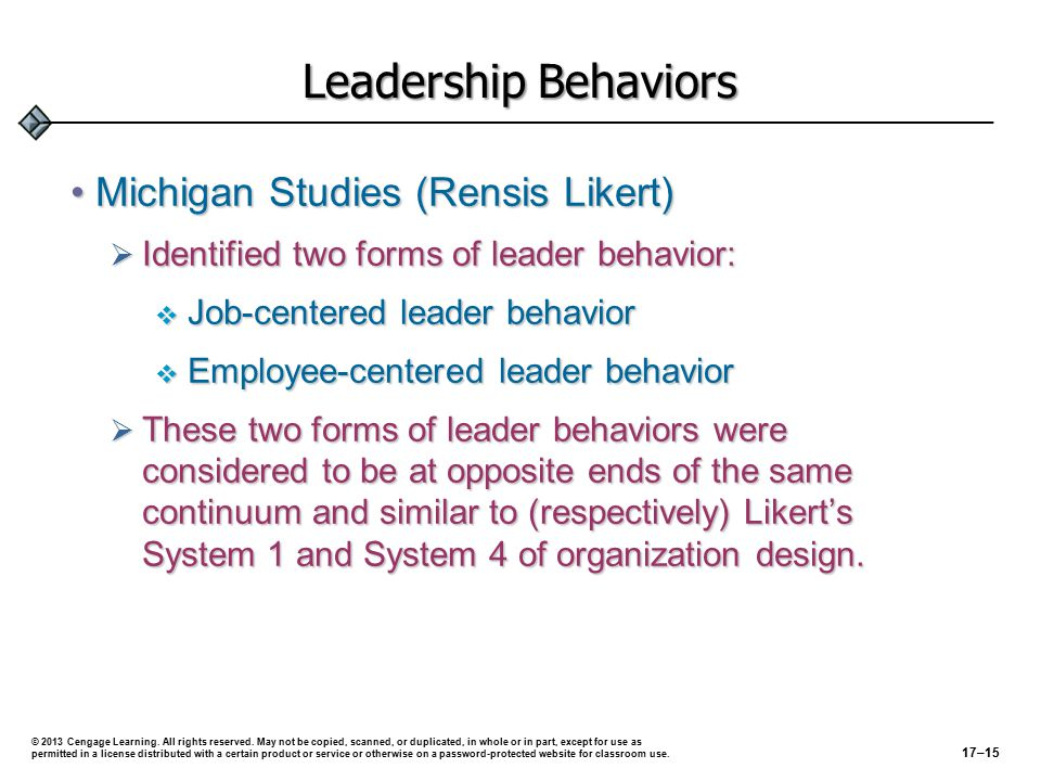 Leadership Behaviors Michigan Studies (Rensis Likert)Michigan Studies (Rensis Likert)  Identified two forms of leader behavior:  Job-centered leader behavior  Employee-centered leader behavior  These two forms of leader behaviors were considered to be at opposite ends of the same continuum and similar to (respectively) Likert's System 1 and System 4 of organization design.