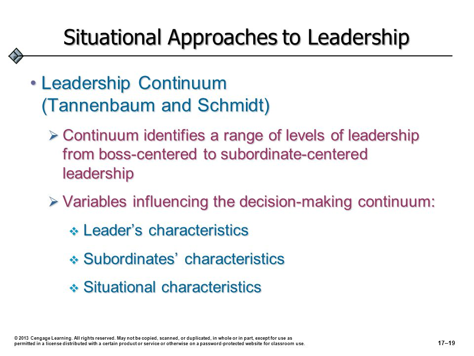 Situational Approaches to Leadership Leadership Continuum (Tannenbaum and Schmidt)Leadership Continuum (Tannenbaum and Schmidt)  Continuum identifies a range of levels of leadership from boss-centered to subordinate-centered leadership  Variables influencing the decision-making continuum:  Leader's characteristics  Subordinates' characteristics  Situational characteristics © 2013 Cengage Learning.