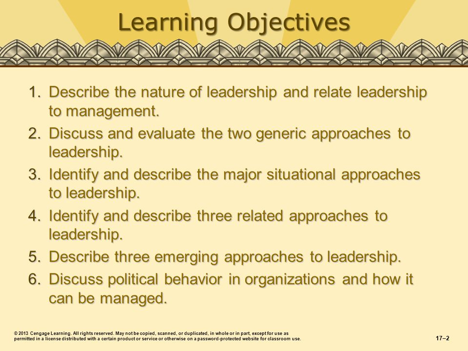 Learning Objectives 1.Describe the nature of leadership and relate leadership to management.