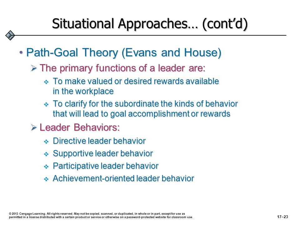 Situational Approaches… (cont'd) Path-Goal Theory (Evans and House)Path-Goal Theory (Evans and House)  The primary functions of a leader are:  To make valued or desired rewards available in the workplace  To clarify for the subordinate the kinds of behavior that will lead to goal accomplishment or rewards  Leader Behaviors:  Directive leader behavior  Supportive leader behavior  Participative leader behavior  Achievement-oriented leader behavior 17–23 © 2013 Cengage Learning.