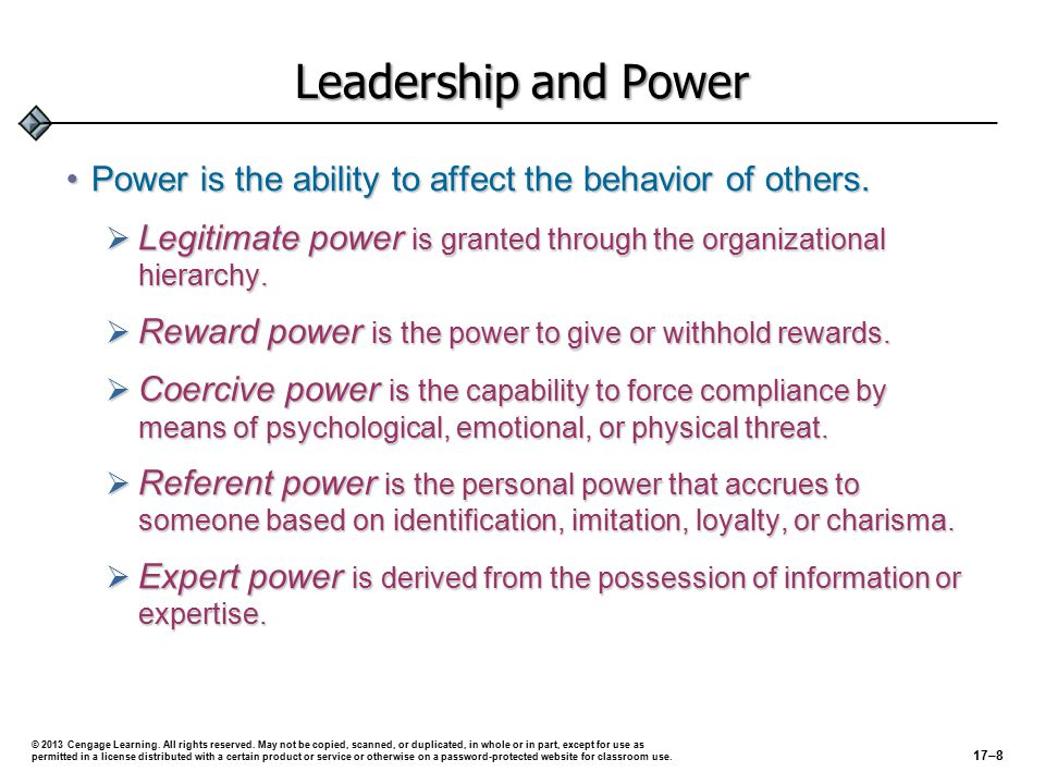 Leadership and Power Power is the ability to affect the behavior of others.Power is the ability to affect the behavior of others.